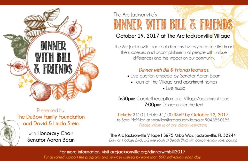 Dinner with Bill and Friends 2017 invitation